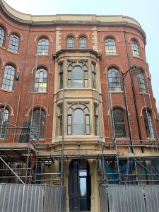 The Birkin Building's impressive facade post-HAZ Phase I in Broadway, The Lace Market