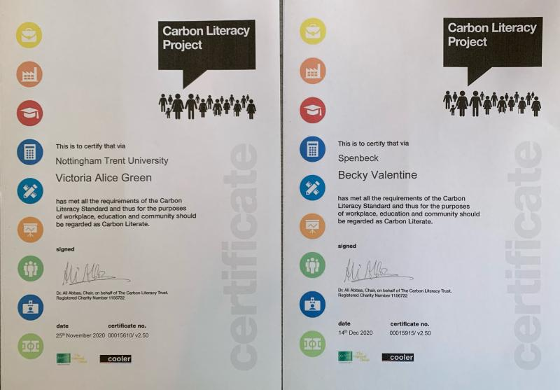 Becky and Victoria's Carbon Literate Certificates provided by NTU's SAIL course