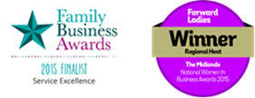 Family Business Awards 2015 Finalist: Service Excellence; Forward Ladies Winner Regional Hub - The Midlands, National Women In Business Awards 2015