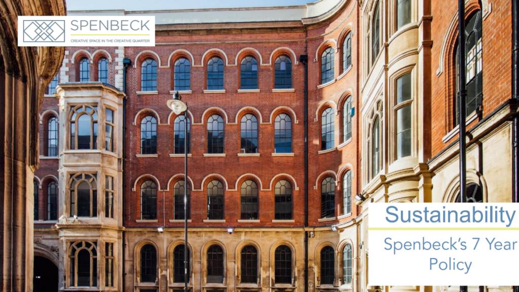 Spenbeck Sustainability Policy Screengrab - The Birkin Building - The Lace Market - Text Overlay: Spenbeck Seven Year Sustainability Policy